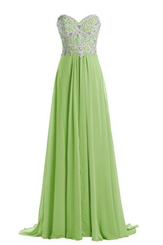 Gorgeous Bride Beliebt Lang Herzform Chiffon Spitze Applikation Abendkleid Festkleid Ballkleid Grün