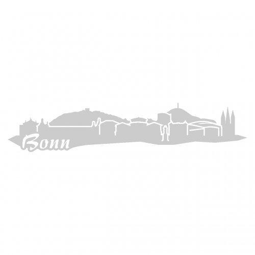 Bonn Skyline Aufkleber Sticker Autoaufkleber City in 4 Größen und 25 Farben (15x3,6cm silbermetalleffekt)
