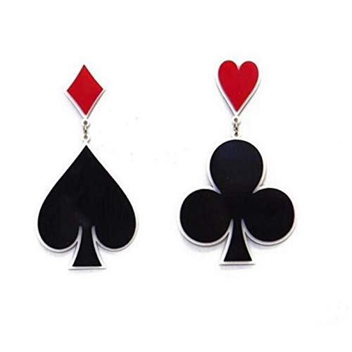 Ohrringe Fashion Hip Hop Exaggerated Nightclub Dancers Acrylic Playing Cards Heart Shaped Asymmetric Earrings (Card Playing Tuch)