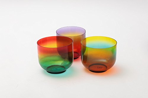 Chakra Set of 7 Rainbow Colored Bergkristall klar Kristall Klangschalen 15,2 cm-8 ""