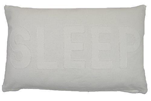 SLEEP, ELFENBEIN / CREME, 100 %BAUMWOLLE, DICK, BOUDOIR KISSEN, GEFÜLLT, BESTICKT, 30 X 50 cm -