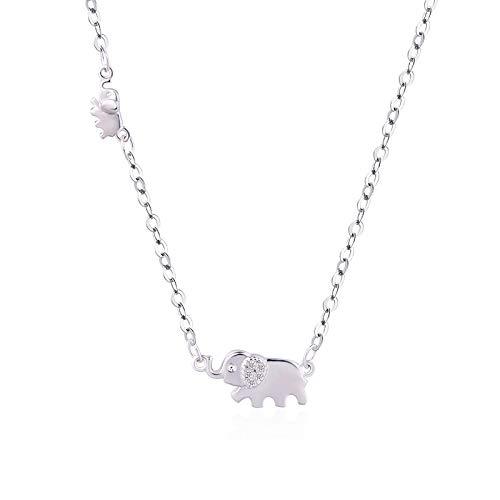 Yisj Collar Auspicioso Collar De Elefantes Amor Diamante Cadena De Clavícula Corta...