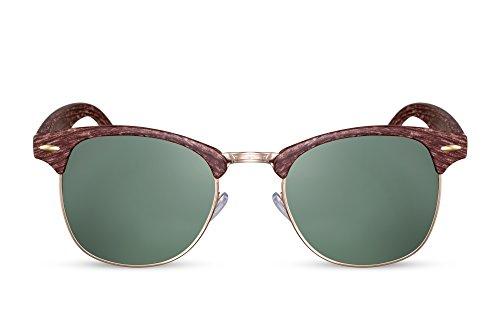 Cheapass Sonnenbrille Clubmaster Braun Holz-Optik UV400 Vintage Plastik Damen Herren