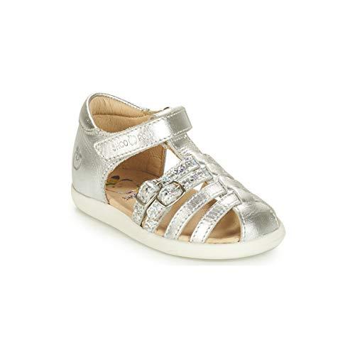 SHOO POM Pika SPART Laminato Sandalen/Sandaletten Madchen Silbern - 21 - Sandalen/Sandaletten (Silberne Poms Pom)