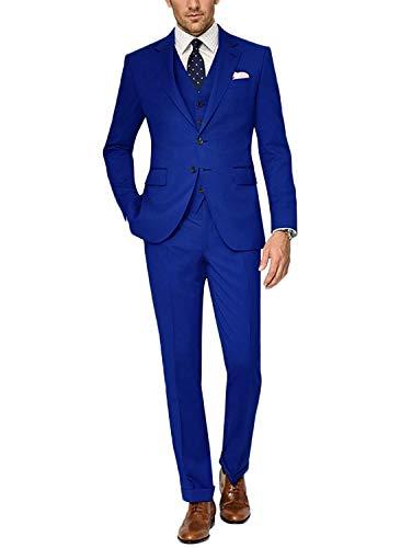 Wolle Plissierten Hosen (CALVINSUIT Herren Anzug 3-teilig Slim Fit Smoking mit Zwei Knöpfen für die Business Hochzeitsfeier lässig)
