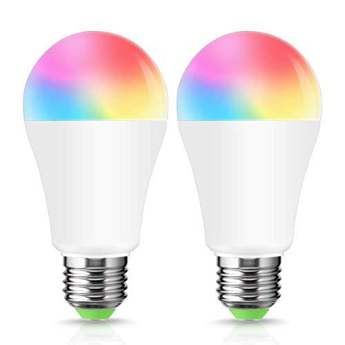 LOHAS 12W Smart Alexa LED Lampen A60, mit E27 Sockel, RGB Mehrfarbig Color Ambiance LED Lampe, Dimmbar via app, Ersetzt 80W Glühbirne, Kompatibel mit Amazon Alexa, IFTTT und Google Home, 2er