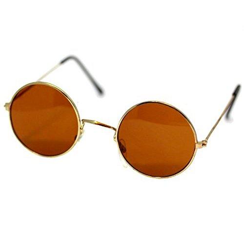 Ozzy Osbourne runde Sonnenbrille Fun 60er 70er Hippie Flower Power (braun-gold) ()