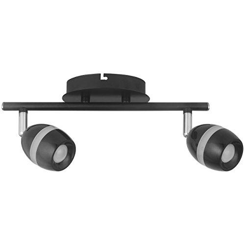 DeMarkt 704022902 Spot sur Rail à 2 Lampes Orientables Style Techno en Métal couleur Noire Mate Anneau en Acrylique pour Chambre Couloir Cuisine 2x4W LED incl.