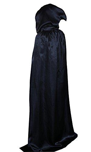 Kostüm Lange Schwarze Robe (LifeWheel Halloween Fasching Kostüm Sensenmann Gevatter Tod umhänge Cosplay Hexen)