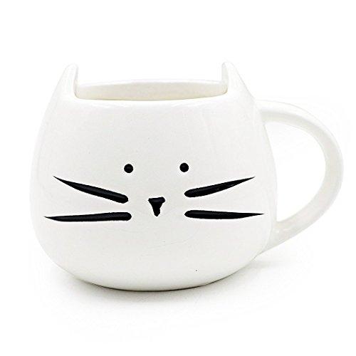 Itian Schöne Tier Katze Porzellanbecher, Niedliche Keramikschale, für Kaffee / Tee / Milch / Wasser (Weiß)