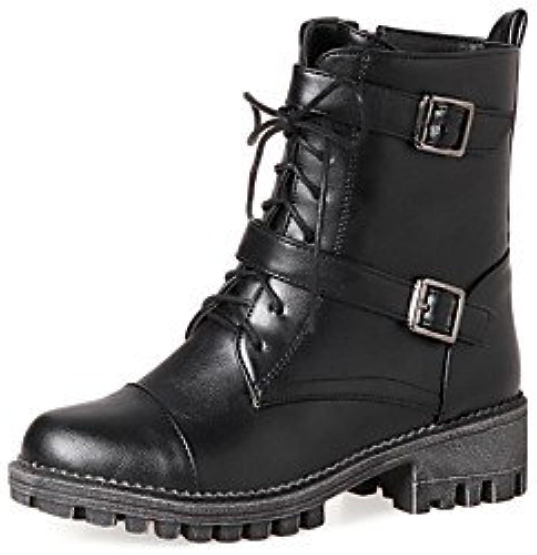 desy de mujer Zapatos PU (Poliuretano) Otoño Invierno ergonómico Botas cuadrado punta redonda hebilla cordones...