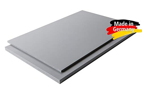 Platte aus Hart PVC Zuschnitt in | grau RAL 7011 | 100 x 49 cm | VERSCHIEDENE STÄRKEN | TOP QUALITÄT | ... (100 x 49cm, 5mm)