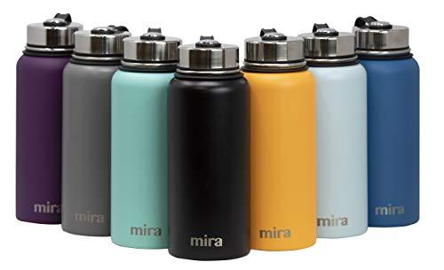 Mira vakuumisolierte Weithals-Wasserflasche aus Edelstahl   Thermosflasche hält 24 Stunden kalt, 12 Stunden warm   Doppelwandige, pulverbeschichtete Reiseflasche   Schwarz