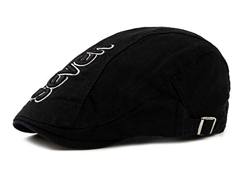 HX fashion Herren Vintage Gatsby Kappe Ivy Newsboy Flat Bequeme Größen Cap Schiebermütze Schirmmütze Baskenmütze Mützen Kleidung (Color : Schwarz, Size : One Size)