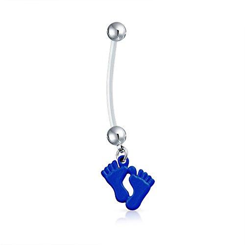 Bling Jewelry Mutter Lila Füße Baumeln Bar Und Ball Stil Nabel Bauch Ring Aus Silber Ton Chirurgischer Stahl 14 G Für Damen