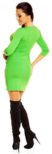 Zeta Ville - Robe poches manches 3/4 décolleté en V Taille 38-48 - Femme - 236z Vert