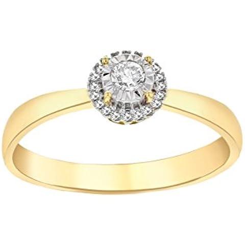 Pave Prive Mujer 14ct oro Amarillo Redondo anillo de diamantes de Halo Disco blanca tamaño–N