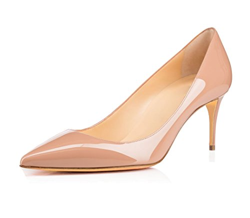 uBeauty Damen High Heels Stilettos Slip-on Pumps Spitze Zehen Klassischer Übergröße Schuhe 65MM Heels Pumps Beige 38 EU