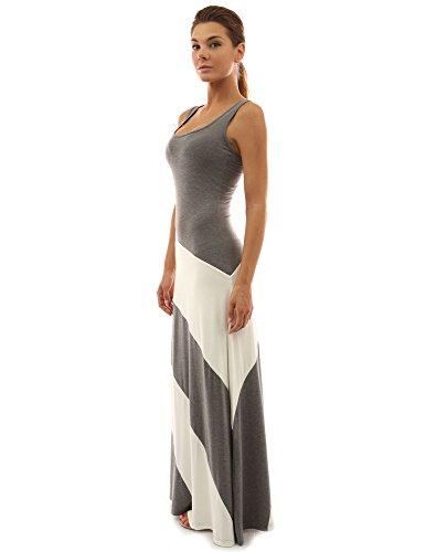 PattyBoutik Damen Racerback gestreiftes Maxi-Kleid mit Rundhalsausschnitt und ärmellos (Grau und Elfenbeinweiß S 36/38)