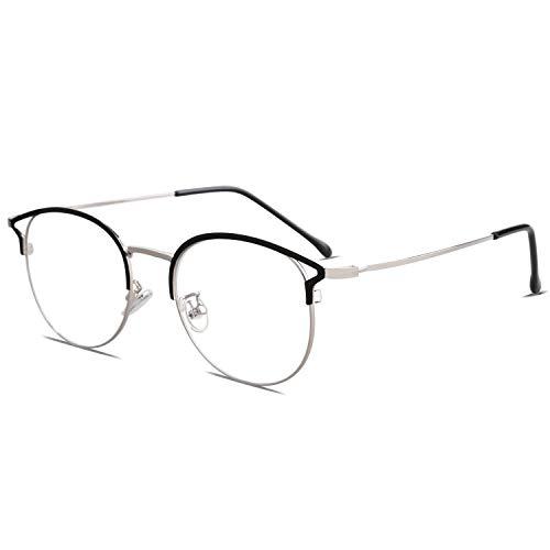 SOJOS Brille Damen Runde mit Blaulichtfilter Augen Schutzen Handgemacht Hochwertig SJ5035 mit Schwarz&Silber Rahmen/Anti-Blaulicht Linse