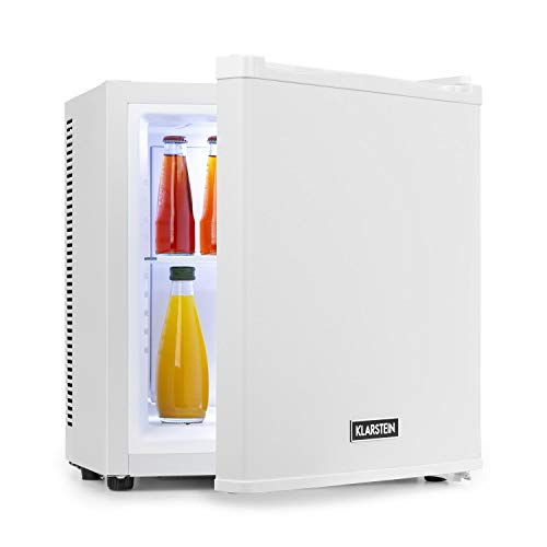 Klarstein Secret Cool Mini-Kühlschrank Mini-Bar, EEK A+, 13 Liter, 45 cm Höhe, 0 dB, Lautlos, Geräuchlos, Kühlbereich: 5-8 °C, freistehend, Getränkekühlschrank, Minibar, weiß