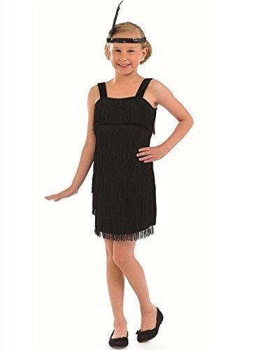 Mädchen Gatsby Kostüme Für (Kinder Mädchen schwarz oder rot Flapper 1920s Great Gatsby Fransen Kostüm Kleid Outfit 4-12 jahre - Schwarz, 4-6)