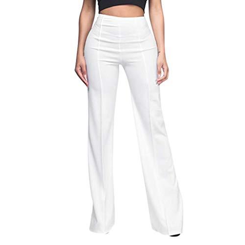 MOTOCO Damenhose mit hoher Taille Lose Reißverschlusstasche Lässige einfarbige Plissierte Hose mit weitem Bein(S,Weiß-2)