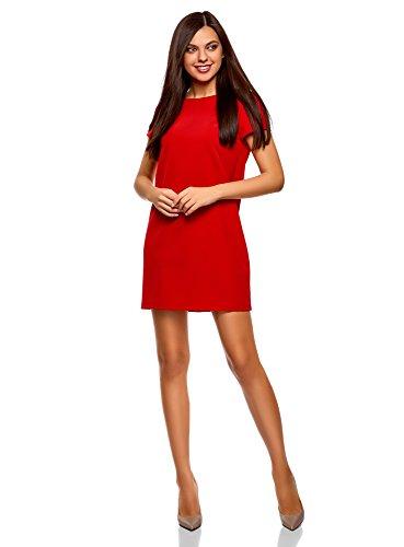 oodji Collection Damen Gerade Geschnittenes Kleid Basic, Rot, DE 42 / EU 44 / XL (Kurz Damen Collection)