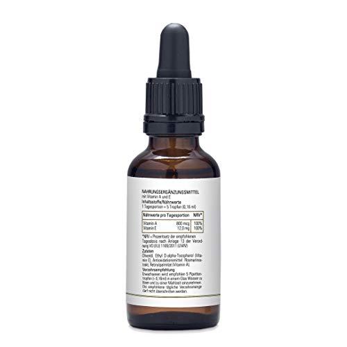 Fresh Organics 30ml Vitamin A + E Tropfen (vegan), 180 Tagesportionen, vollständige Deckung des Tagesbedarfs an Vitamin A (800mg) und Vitamin E (12mg) mit nur 5 Tropfen