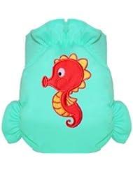 Eliott Et Loup Hippocampe Maillot de bain couche à Scratch ajustable Enfant 0-3 ans Bleu Taille Unique Séchage Rapide