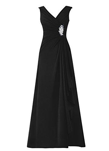 Dresstells, robe de soirée, robe longue de cérémonie, robe de demoiselle d'honneur Noir