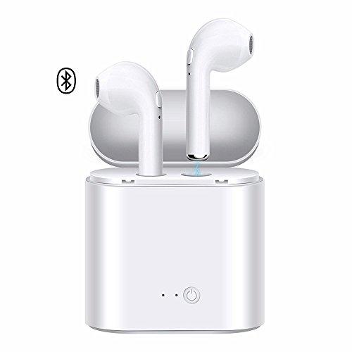Auriculares Bluetooth, auriculares inalámbricos con micrófono, auriculares mini en la oreja, auriculares deportivos a prueba de sudor, con caja de carga, para iPhone X 8 7 6 Plus Samsung Android teléfono inteligente