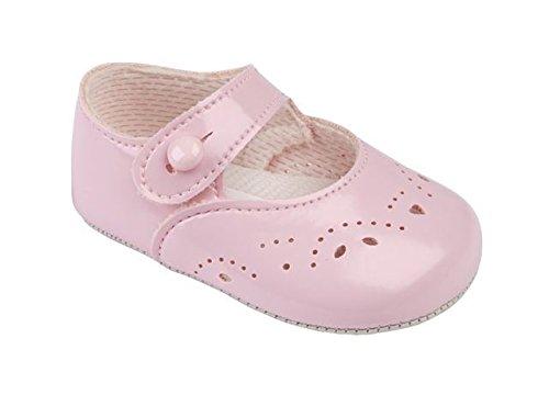 Bebé niñas Baypods-Zapatos de primera cochecito botón cierre con agujeros y pétalos detalle, color rosa, talla 0 UK/0-3 Meses