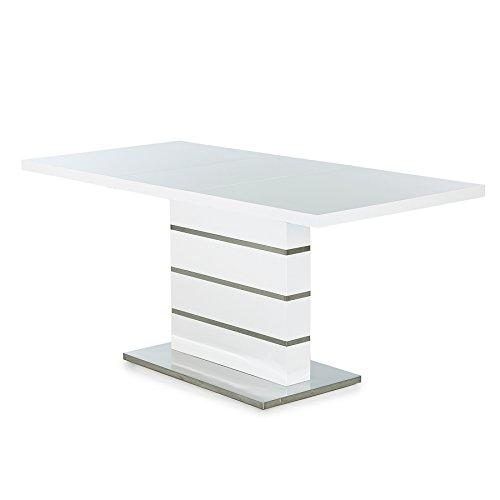 Design Esstisch ATLANTIS L weiß Hochglanz 120-160 cm ausziehbar Tisch Küchentisch Konferenztisch