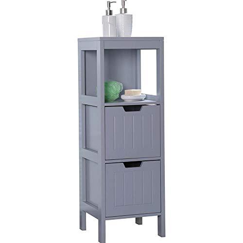 Etnicart - Mobiletto bagno in legno grigio MDF 30x30x89CM salvaspazio armadietto multiuso arredo bagno mobiletto due cassetti 3 ripiani contenitore multiuso-Prodotto di QUALITA'