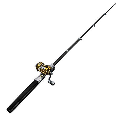 ni Tragbar Tasche Aluminium Legierung Fish Pen Angelrute Pole mit Baitcast-Rolle ideal Geschenk für Vater 's Day schwarz schwarz (Eis Angelrute Rod)