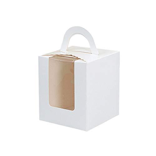 e Kuchen Boxen Cupcake Wrapper Bakery Party Geschenk Box Set mit Fenster weiß(Weiß ) ()