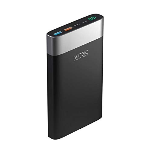VINSIC 20000 mAh Terminator P3 Power Bank, ultradünn, externer Akkupack, Backup-Typ C, Modish-USB-Ausgänge für Alle Smartphones, tragbares Ladegerät mit Schnellladegerät