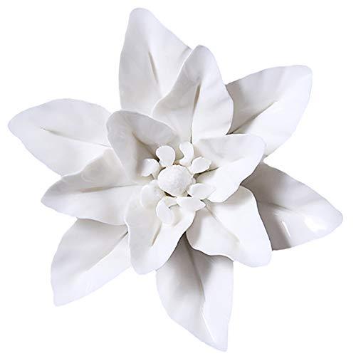 ALYCASO DM 3D Keramik Blumen Wall Decor Wandbehänge Nachahmung Pflanze Home Dekorative, Whitem, groß -