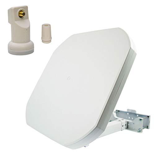 PremiumX FLAT43 Sat Flachantenne mit Digital Single LNB - Satellitenanlage für 1 Teilnehmer - 4K UHD FullHD HD