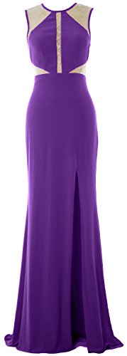 MACloth Women Mermaid Sexy Prom Dress Lace Jersey Evening Formal Gown with Slit purple