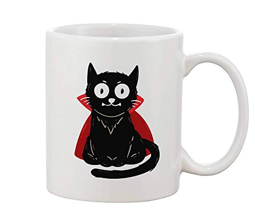 Finest Prints Cute Vampire Cat with Red Cape White Ceramic Coffee and Tea Mug