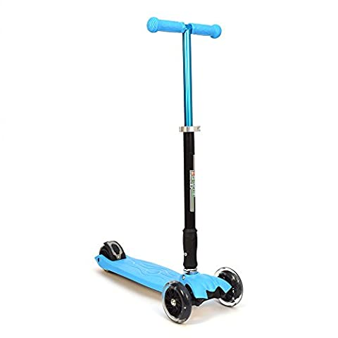 3Style Scooters® RGS-2 Tilt Kick board Mini T-Bar 3 Wheel Kick Scooter Board for Boys / Girls / Children / Kids / Adults With Spin & Flash LED Wheels Perfect Unique Present Xmas Christmas Gift - Free Upgrade to Expedited Shipping (Blue)