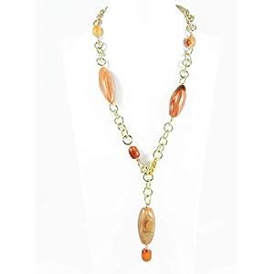 Halskette mit orange Carneol Steine