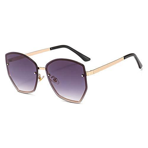 Sonnenbrille Fashion Copy Sonnenbrille Metall Sonnenbrille Ocean Lens Wild Brillen für Frauen, Gold Frame Progressive Grey Sheet