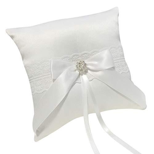 Ehering Kissen, Chshe Ringkissen, Handgemachte Romantische Hochzeit, Baumwolle Lace Carrier Ringkissen Für Party-Feiern (Weiß D) -