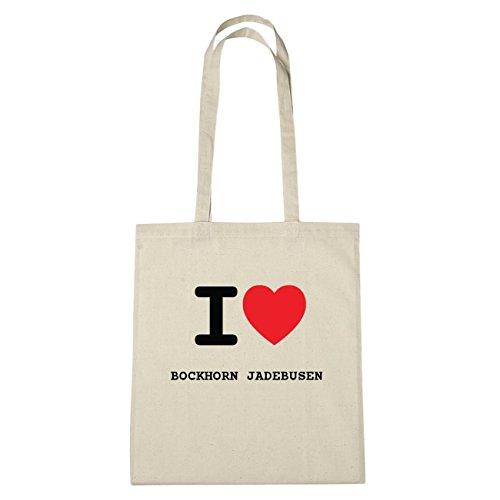JOllify Bockhorn Jade Busen di cotone felpato b2640 schwarz: New York, London, Paris, Tokyo natur: I love - Ich liebe