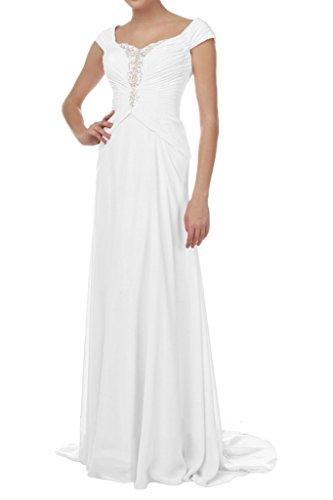 Victory Bridal Einfach Chiffon Breit-traeger Damen Abendkleider Ballkleider Promkleider Lang Etui Weiß