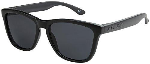 X-CRUZE® 9-002 X0 Nerd Sonnenbrillen polarisiert Style Stil Retro Vintage Retro Unisex Herren Damen Männer Frauen Brille Nerdbrille - schwarz matt/schwarz