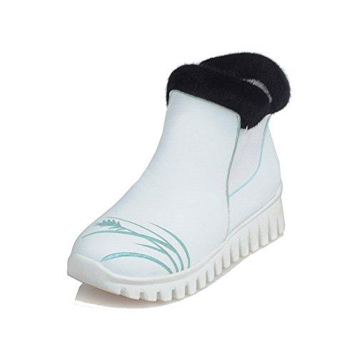 AllhqFashion Damen Niedrig-Spitze Ziehen Auf Niedriger Absatz Rund Zehe Stiefel Weiß